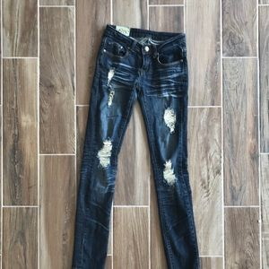 Machine Nouvelle Mode Dark Ripped Skinny Jeans